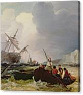 Rowing Boat Going To The Aid Of A Man-o'-war In A Storm Canvas Print