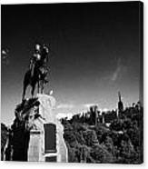 Royal Scots Greys Boer War Monument In Princes Street Gardens Edinburgh Scotland Uk United Kingdom Canvas Print