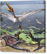 Rugops Primus Dinosaurs And Alanqa Canvas Print