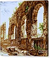 Ruins Of Roman Aqueduct, 18th Century Canvas Print