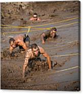 Runners Navigate An Obstacle Course Canvas Print