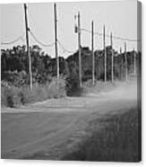 Rural Dirt Road In Black And White Canvas Print