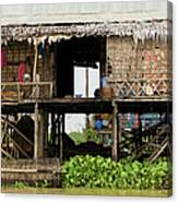 Rural Fishermen Houses In Cambodia Canvas Print