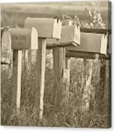 Rural Mail Boxes In Sepia Canvas Print