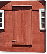 Rustic Red Barn Door With Two White Wood Windows Canvas Print