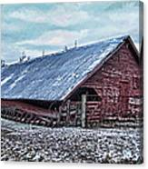 Rustic Red Winter Barn Canvas Print