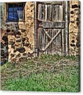 Rustic Wooden Door In Stone Barn Canvas Print