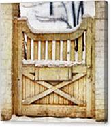 Rustic Wooden Gate In Snow Canvas Print
