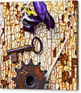 Rusty Key And Gear Canvas Print
