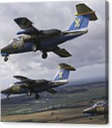Saab 105 Jet Trainers Of The Swedish Canvas Print