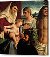 Sacra Conversatione With Ss Catherine Sebastian And Holy Family Canvas Print