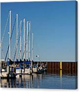 Sailboat Docking By Break Water Wall Canvas Print