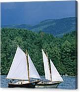 Sailboats And Darkening Sky, Lake Canvas Print