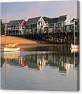 Sailboats And Harbor Waterfront Reflections Canvas Print