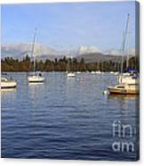 Sailboats At Anchor In Bowness On Windermere Canvas Print