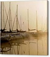 Sailboats In Golden Fog Canvas Print