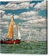 Sailboats In The Netherlands By The Zuiderzee Canvas Print