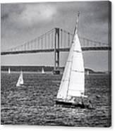 Sailboats Near Bridge Canvas Print