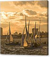 Sailboats On Lake Ontario At Sunset Canvas Print