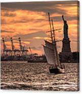 Sailing To Liberty  Canvas Print