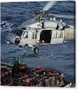 Sailors Attach Pallets Of Supplies Canvas Print