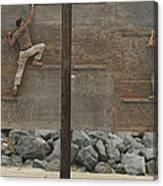 Sailors Crawl Across Narrow Planks Canvas Print