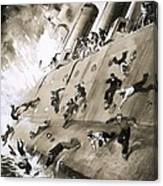 Sailors Escaping Hms Natal Which Caught Fire In Cromerty Firth In 1915 Canvas Print