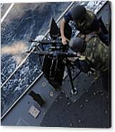Sailors Fire A Dual-mounted M240 Canvas Print