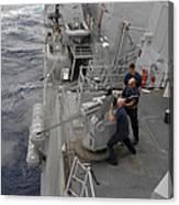 Sailors Fire A Mark 38 Machine Gun Canvas Print