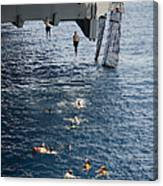 Sailors Jump To The Sea During A Swim Canvas Print