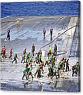 Sailors Perform A Flight Deck Wash Canvas Print