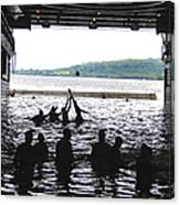Sailors Play Football During A Swim Canvas Print