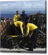 Sailors Prepare Pallets Of Cargo Aboard Canvas Print