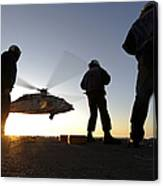 Sailors Watch A Helicopter Lift Canvas Print