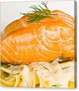 Salmon Steak On Pasta Decorated With Dill Closeup Canvas Print