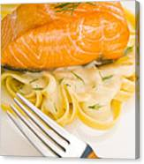 Salmon Steak On Pasta Decorated With Dill Canvas Print