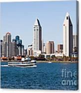 San Diego Skyline And Tour Boat Canvas Print