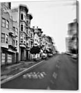 San Francisco Side Street-black And White Canvas Print