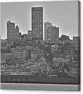San Francisco Skyline-black And White Canvas Print