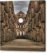 San Galgano  - A Ruin Of An Old Monastery With No Roof Canvas Print