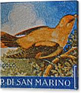 San Marino 1 Lire Stamp Canvas Print