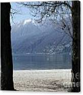Sand Beach On An Alpine Lake Canvas Print