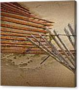 Sand Fence Falling Down On The Beach Canvas Print