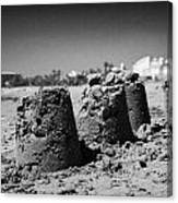 Sandcastles On Cyprus Tourist Organisation Municipal Beach In Larnaca Bay Republic Of Cyprus Europe Canvas Print