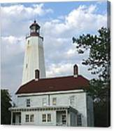 Sandy Hook Lighthouse And Building Canvas Print