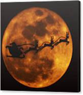 Santa Across The Sky Canvas Print