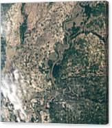 Satellite Image Of Flood Waters Canvas Print