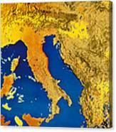 Satellite Image Of Italy Canvas Print