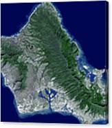 Satellite Image Of Oahu, Hawaii Canvas Print