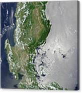 Satellite Image Of The Northern Canvas Print